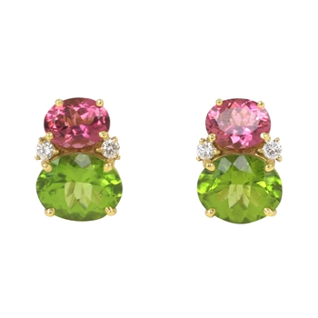 Pink Tourmaline & Peridot Twin Stone Earrings