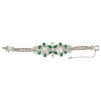 Platinum Diamond & Emeral Bracelet