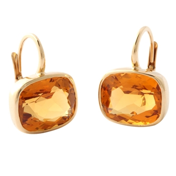 Gold Bezel Set Citrine Earrings on French