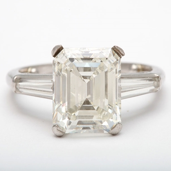 Spectacular Emerald Cut Diamond Solitaire Ring