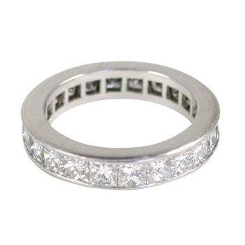 Platinum Princess Cut Diamond Band Ring