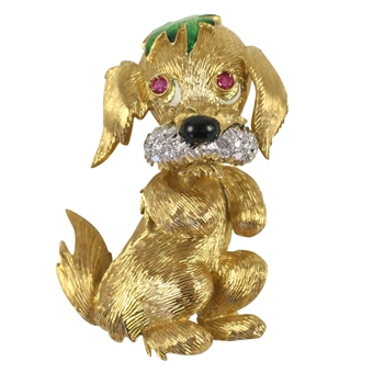 Whimsical Puppy Dog of Unknown Lineage Brooch