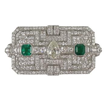 Exquisite Art Deco Diamond and Emerald Clip Pendant