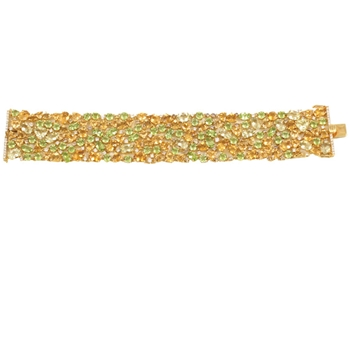 18K Yellow Sapphire Peridot Citrine & Diamond Flexible Bracelet