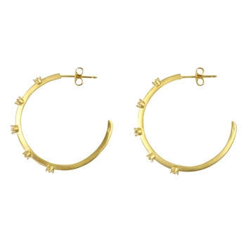 18K Yellow Gold & Diamond Hoop Earrings