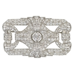 "Platinum Diamond ""Buckle"" Brooch"