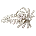 Platinum Floral Spray Brooch