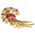 Retro 18K Yellow Sapphire Ruby and Diamond Spray Clip