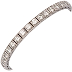 Diamond Platinum Block Bracelet