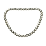 Silver on Gold, Diamond and Cultured Button pearl Necklace