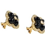 18k Yellow Gold Black Onyx and Diamond Flower Earrings