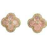 18K Yellow Gold Rose Quartz & Diamond Flower Earrings