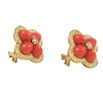 18K Yellow Gold Coral & Diamond Flower Earring