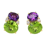 Amethyst & Peridot Twin Stone Earrings