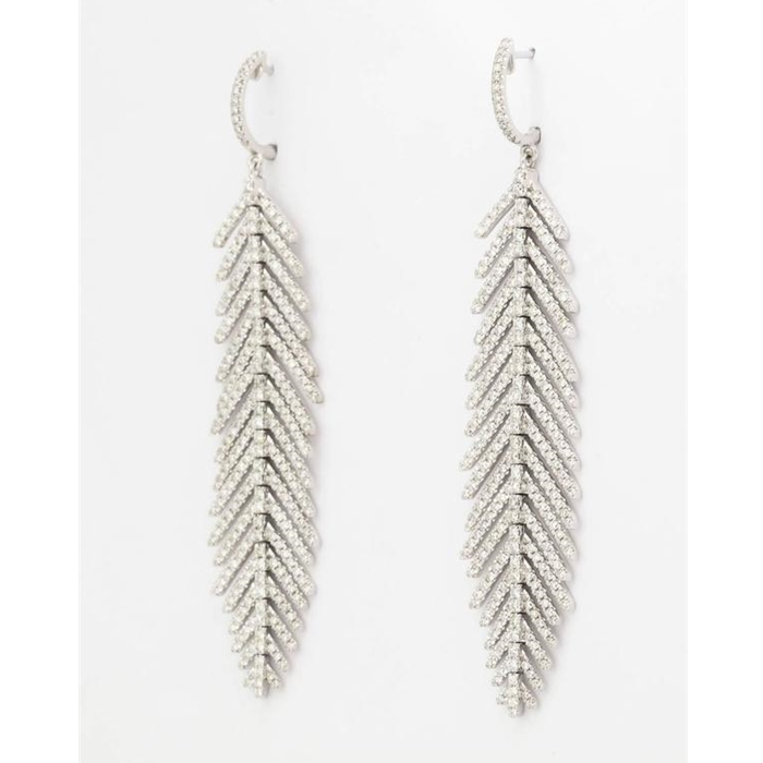 Diamond Gold Flexible Feather Earrings